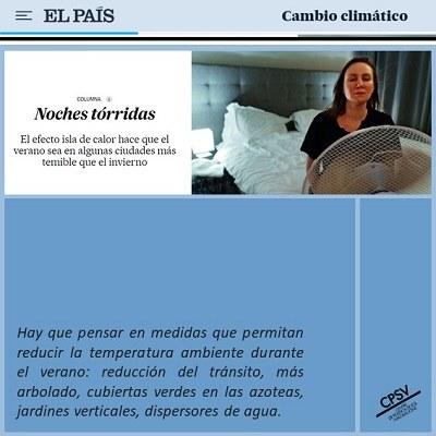Article del diari El País sobre l'efecte illa de calor urbana cita el projecte Urban-CLIMPLAN del CPSV