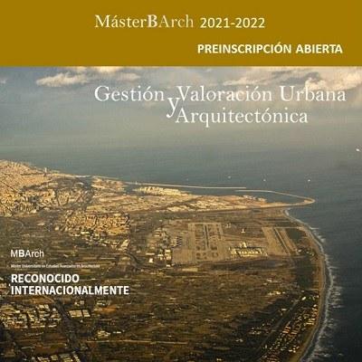 Preinscripció oberta GVUA-MBArch 2021-2022