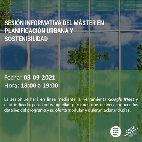 Sessió informativa del màster en Planificació Urbana, i Sostenibilitat, CPSV-UPC