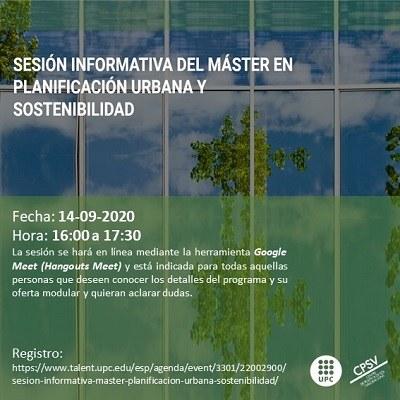 Sessió informativa del màster en Planificació Urbana, Sostenibilitat i Canvi Climàtic